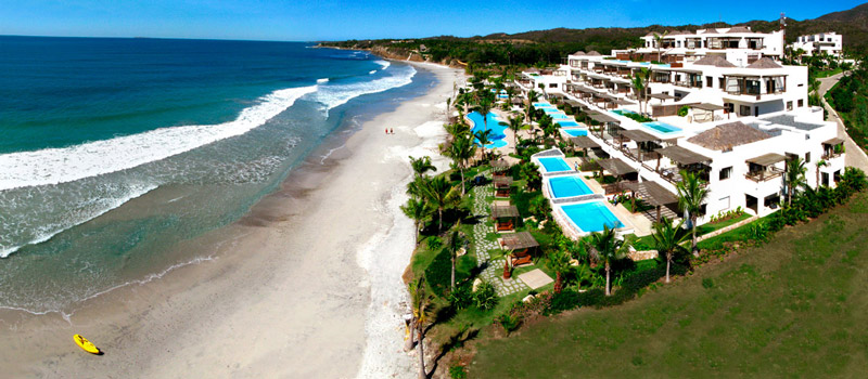 Ariel shot of Los Veneros Beachfront properties in Punta Mita Mexico