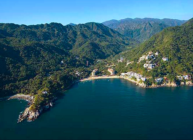 Beach and forest of Mismaloya Mexico
